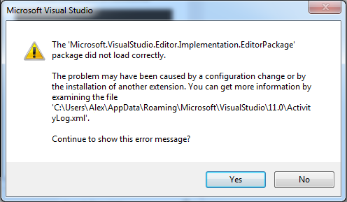 Microsoft.VisualStudio.Editor.Implementation.EditorPackage package did not load correctly