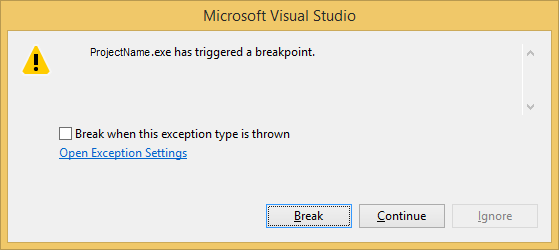 exe has triggered a breakpoint